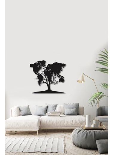 Angemiel Home Ağaç Metal Duvar Tablosu Siyah